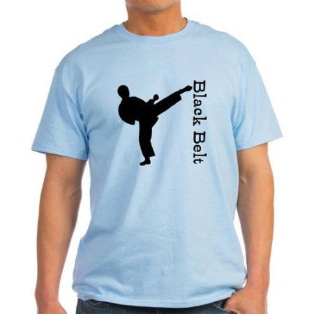 Cafepress Personalized Black Belt Kicking Man Karate Light T-Shirt, Men's, Size: Large, Blue