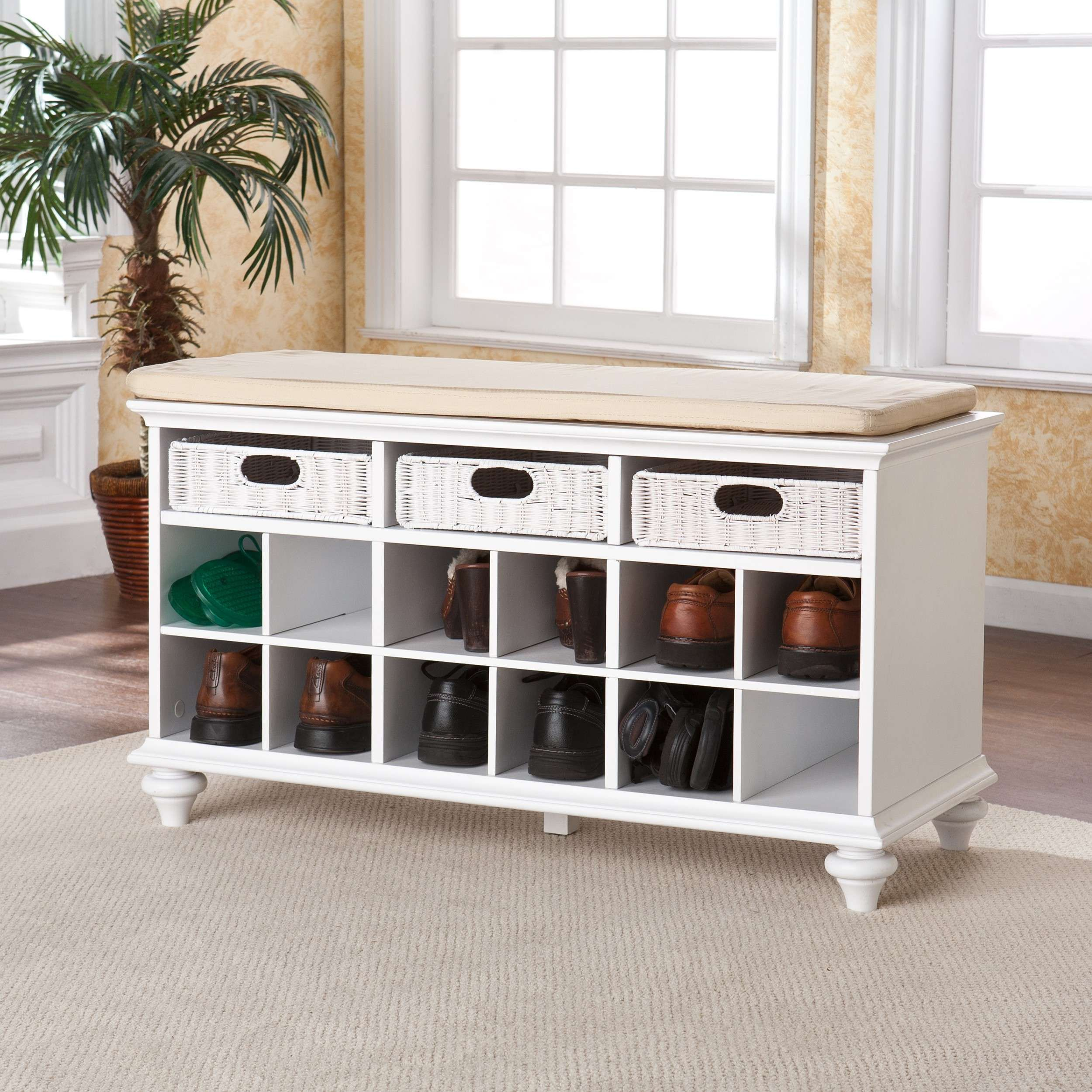 Chelmsford White Entry Shoe Storage Bench White Storage Bench Bench With Shoe Storage Shoe Storage Bench Entryway