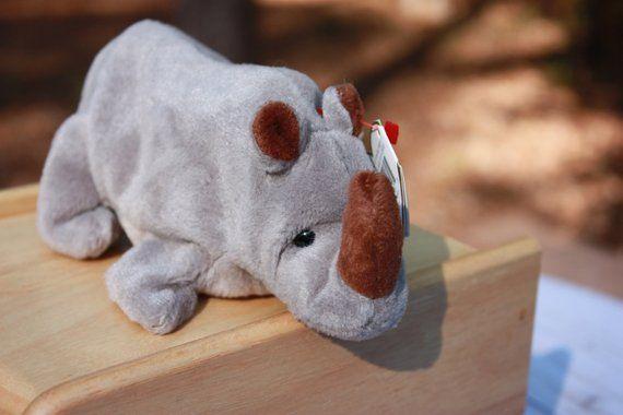 c8fbbcd28dd Vintage Rhino - Spike Beanie Baby - Retired Beanie Babies - Plush Rhino