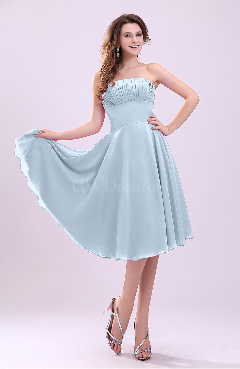 Ice blue simple aline sleeveless backless pleated wedding guest