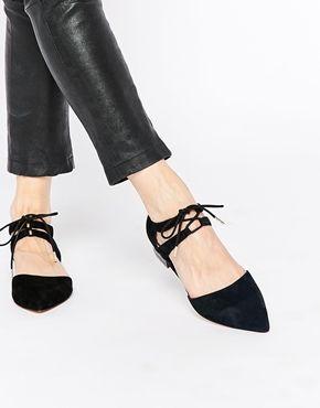 def55f35 Zapatos planos negros con cordones Garr de Faith | zapatos ...