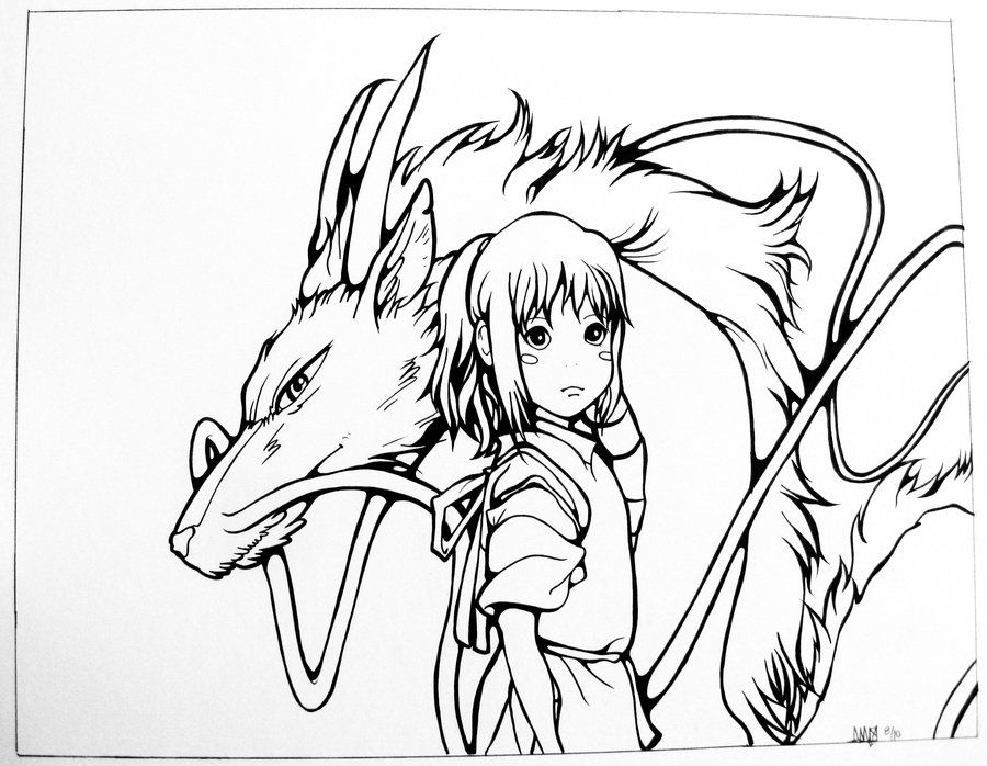 Chihiro And Haku 2 By Amandurinorange Studio Ghibli Tattoo Line Art Projects Ghibli Art