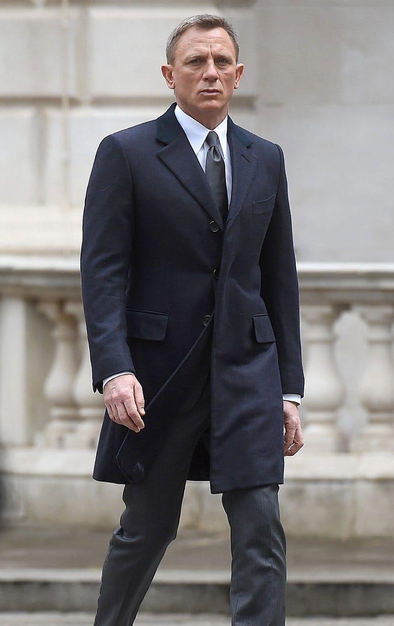 Ganz und zu Extrem James Bond Spectre Navy Crombie coat in 2018 | James Bond Suit &HP_46