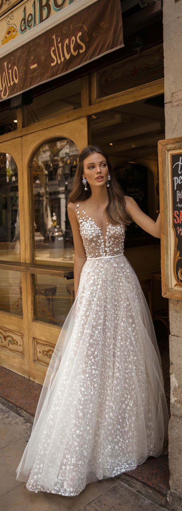 Photo of Tulle A-line Wedding Dress With Plunging V-neck >> Fabulous Tulle A-line V-neck Floor Length …