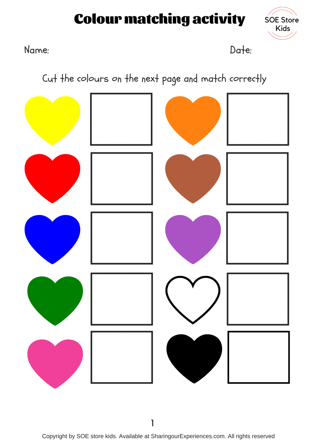 Free Colors Matching Activities For Toddlers Printable