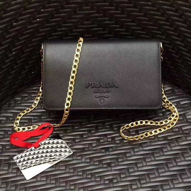 e470c9e75f Prada Monochrome Saffiano Leather Small Cross-body Wallet Bag Black 2017
