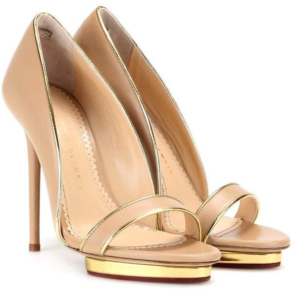 Charlotte Olympia Christine 125 Leather Pumps ($760) ❤ liked on Polyvore featuring shoes, pumps, charlotte olympia, heels, beige, charlotte olympia pumps, leather shoes, heel pump, real leather shoes and charlotte olympia shoes