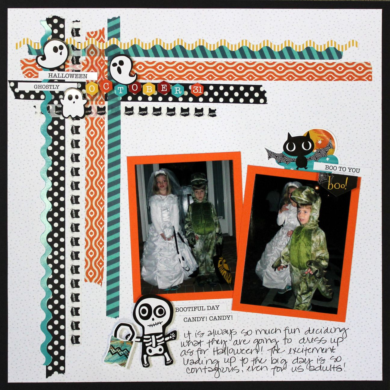 Here's 3 ways to use Washi tape on your scrapbook layouts and cards for Halloween. See how to use Creative Memories Toil & Trouble Halloween collection.