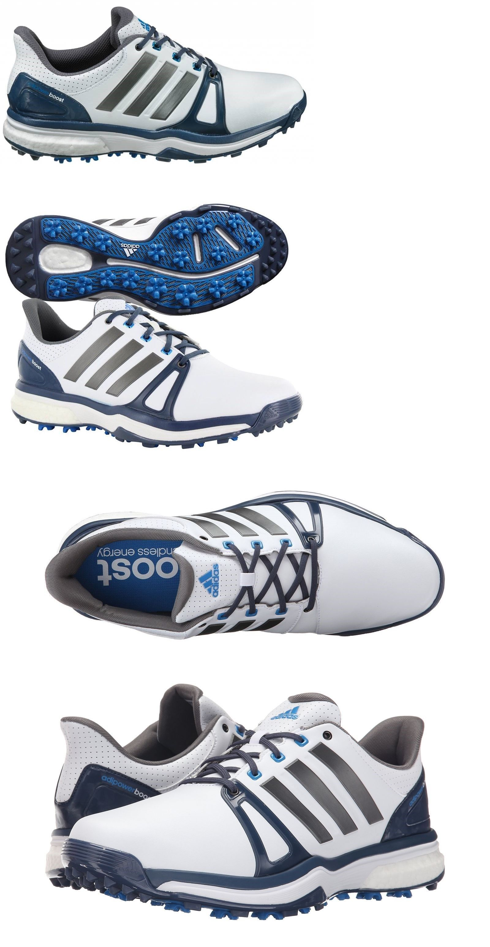 85264122687c Golf Shoes 181136  New Adidas Adipower Boost 2 Mens Golf Shoes White Silver  Blue -