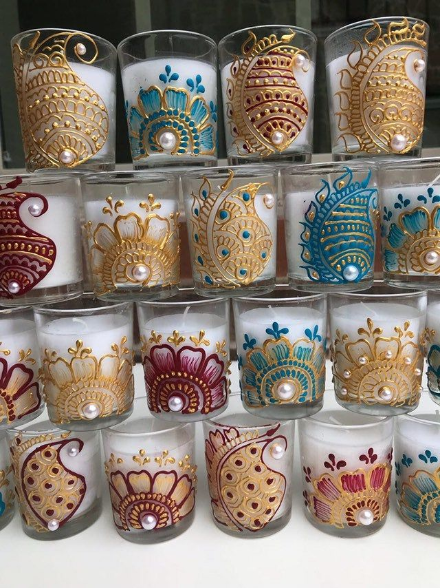 Henna candle wax filled glass votives,Handpainted candles,henna candles,indian favors,diwali decor,wedding favor:Diwali Favors/navratra gift