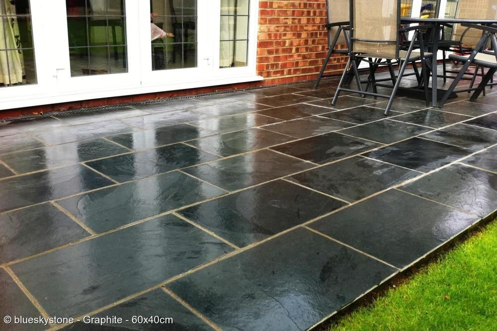 Black and grey slate paving patio garden tiles not slab for Garden decking and slabs