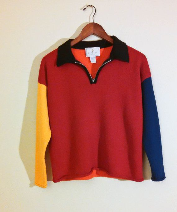 ad394150cb 90 s Colorblock Sweater from Express TRICoT by YellowBirdThrifts