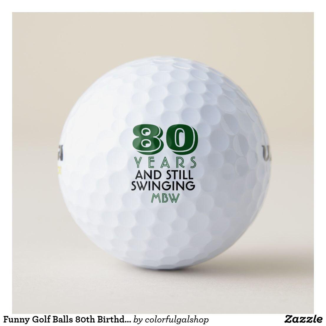 Funny Golf Balls 80th Birthday Party Monogrammed