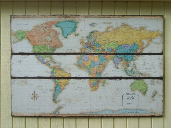 World map colorful wall decor vintagedistressed look map large world map art world map wall decor by wheretherobinsings on etsy gumiabroncs Gallery