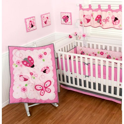 Sumersault Lovely Ladybug 10 Piece Nursery In A Bag Crib Bedding Set Ladybug Nursery Nursery Bedding Sets Girl Ladybug Nursery Theme