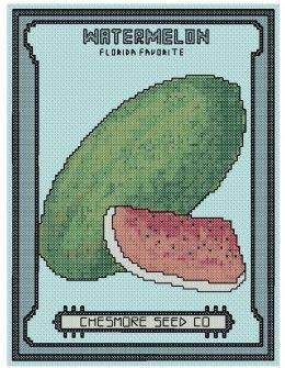 free cross stitch Watermelon seed packet