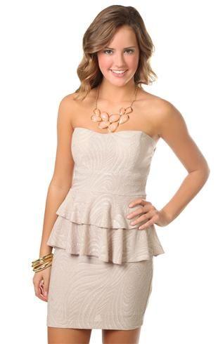 textured swirl strapless slinky peplum dress