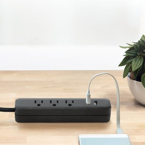 Designer Black USB Power Strip Cable   Modern Home Electronics   Office  Accessories