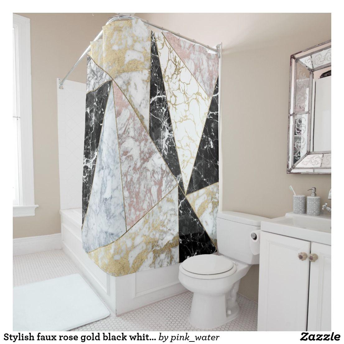 Stylish Faux Rose Gold Black White Luxury Marble Shower Curtain