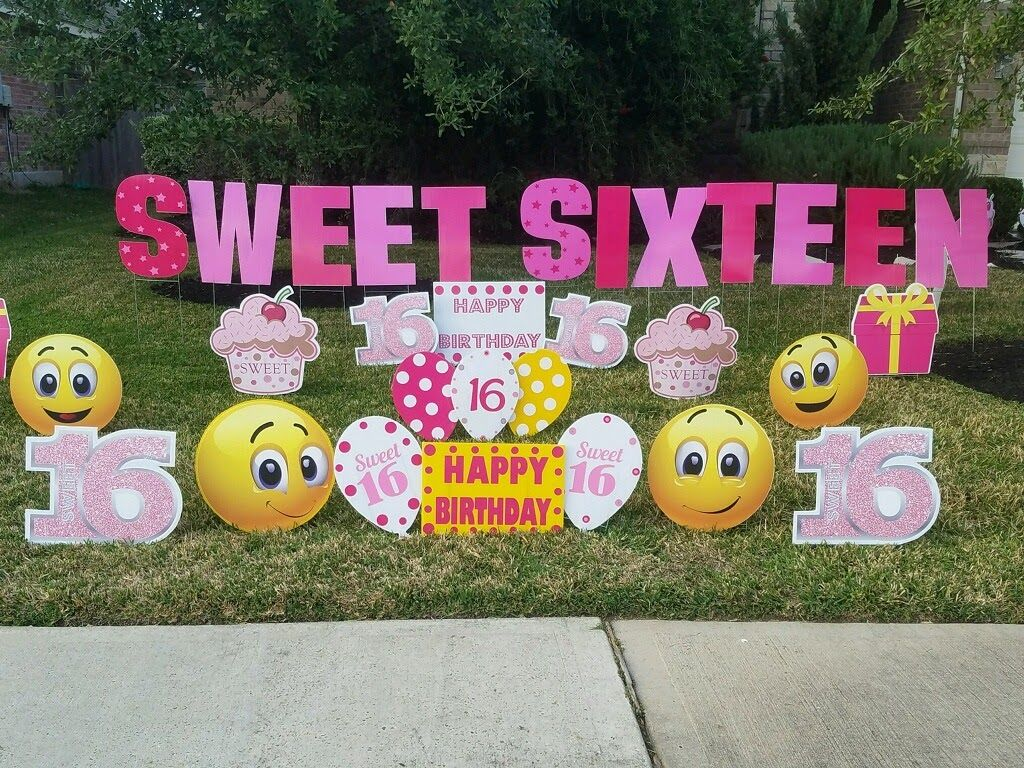 Sweetsixteenparty Emojiparty Super Fun Party Decor To Surprise The Birthday Girl From Www Flamingos2g Emoji Party Birthday Yard Signs Sweet Sixteen Parties