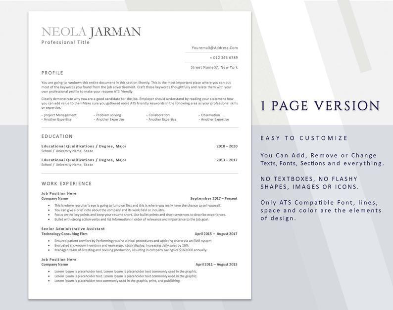Curriculum vitae template ATS Administrative CV tracker