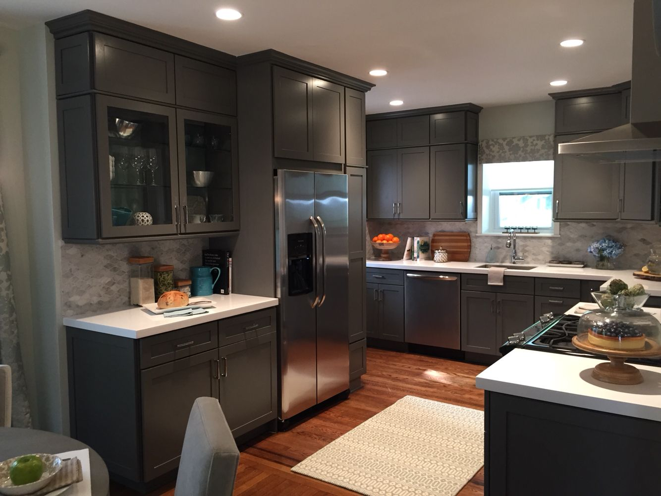 Grey Kitchen Cabinets Carrera Mosaic Backsplash And White Ceaserstone Countertop Full