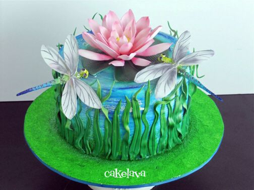 Dragonfly Lotus Flower Cake By Cakelava Beautifully Decorated