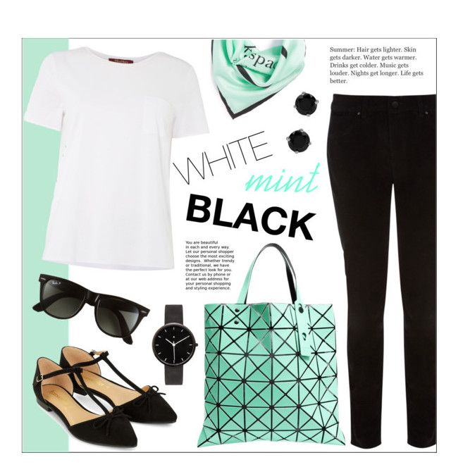 """""""White, Mint, Black"""" by ms-mandarinka ❤ liked on Polyvore featuring Karen Millen, Kate Spade, Bao Bao by Issey Miyake, MaxMara, Accessorize, Ray-Ban, I Love Ugly and BERRICLE"""