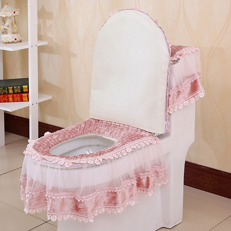 Details About Bathroom Set Toilet Seat Mat Tank Lid Top