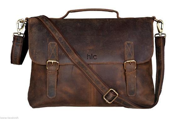 1d08e7fac5cc 15/16/18 inches 100% Genuine Leather Vintage Messenger Satchel ...