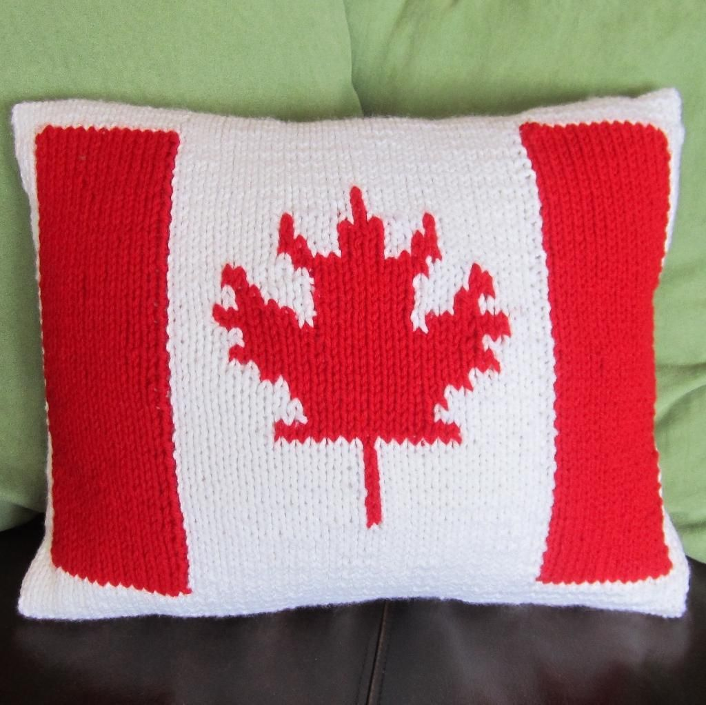 Canadian flag 12x16 knit pillow cover beginner knitting knit canadian flag 12x16 knit pillow cover bankloansurffo Images