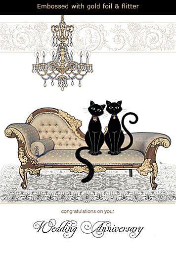 Black Cat Wedding Anniversary Card Cats Illustration Cat Art Bug Art