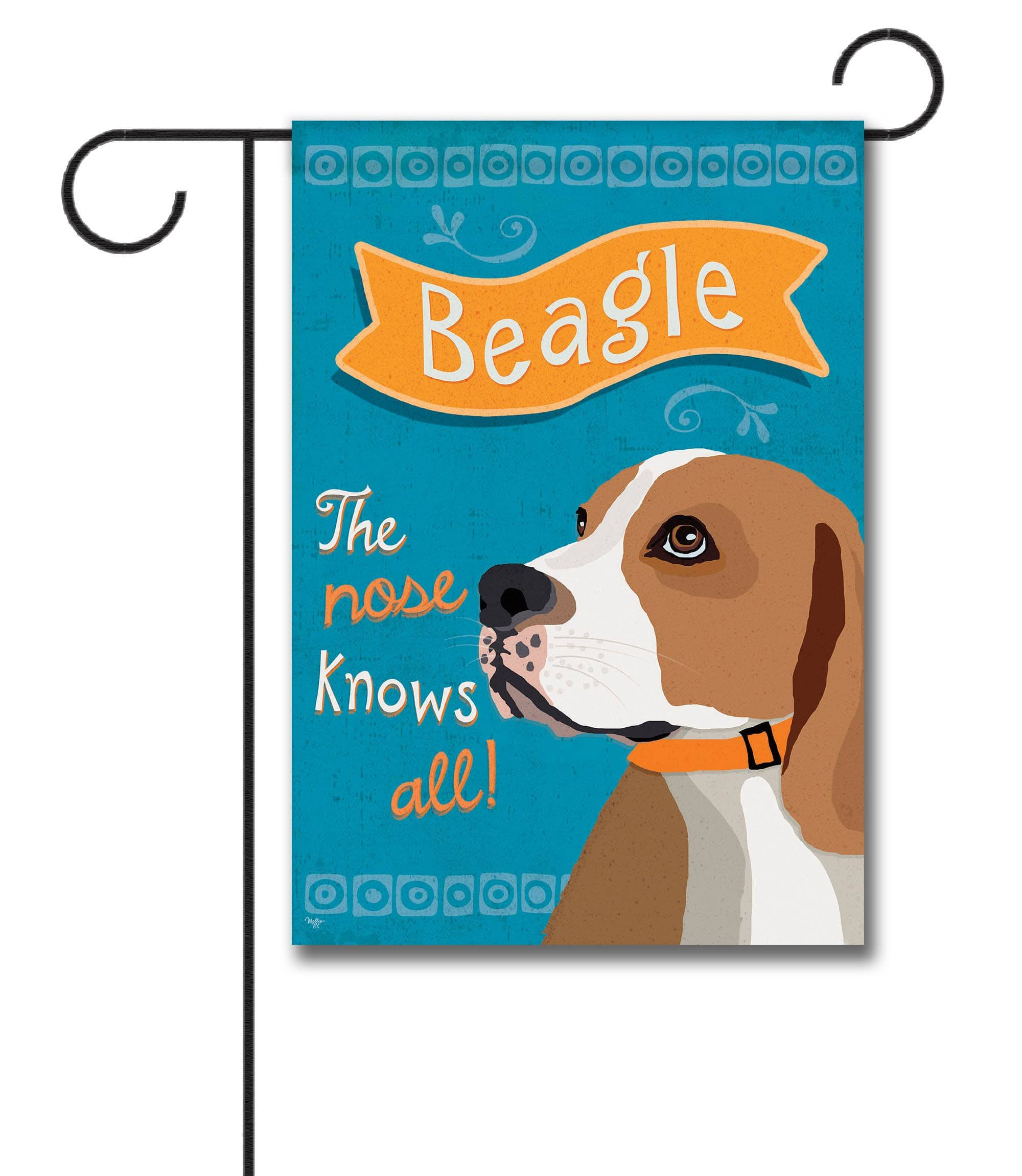 """Beagle Garden Flag: Flag Size: 12.5"""" x 18"""" Flag stand sold separately Proudly Printed in the USA Vibrant colors printed on a poly/cotton outdoor quality fabric. Digitally print"""