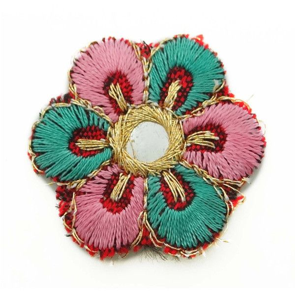 Designer Indian Multicolor Floral Shape Mirror Sequins Appliques