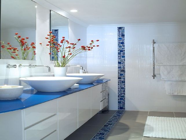White And Blue Bathroom Ideas. Marble Bathroom With Awesome Design Ideas Blue White
