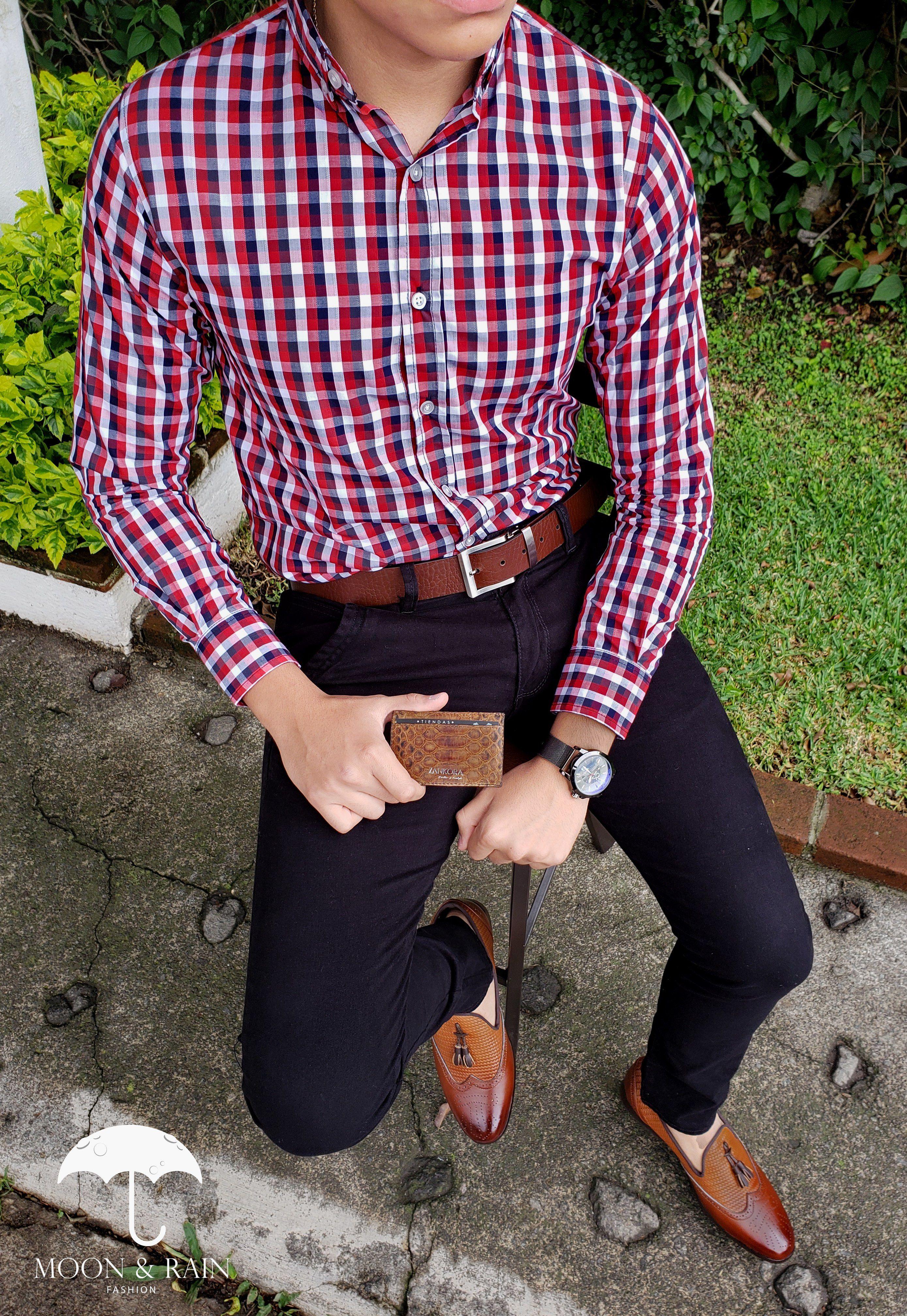 Cuadros Slim Camisa Y Rojo Fit Para Hombre Negro Outfit De xwpnq16wC