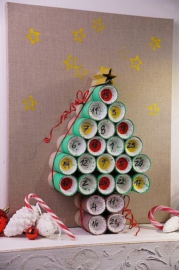 A calendar of Advent in rolls of toilet paper #calendrierdel#39;aventdiy