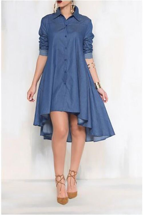 c312631500c7f9 2017 Summer Shirt Dress Women Long Sleeve Demin Dresses Laides Casual  Asymmetrical Hem Midi Dresses Jeans