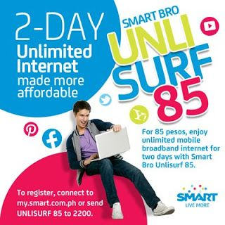 Smart Bro Unlisurf 85 Unlimited Internet For 2 Days Is Now Made Affordable Smart Broadband Internet Day