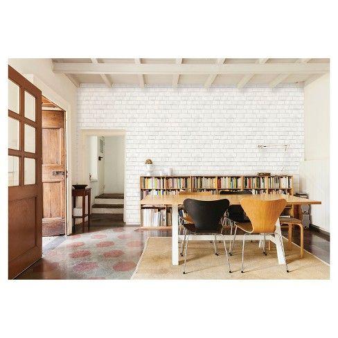 Textured Brick Peel & Stick Wallpaper White Threshold