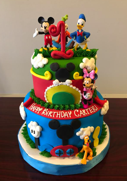 Excellent Mickey Mouse 1St Birthday Cake Adrienne Co Bakery With Personalised Birthday Cards Akebfashionlily Jamesorg