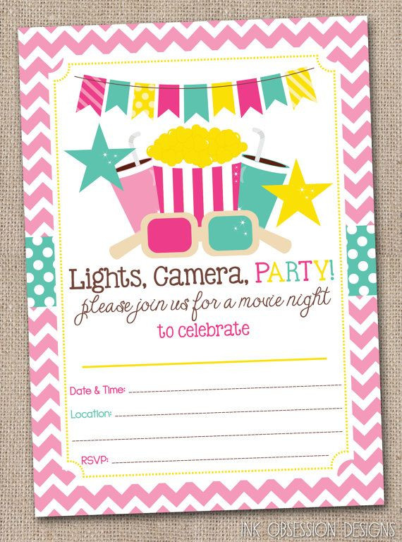 printable girls movie party birthday party invitation instant