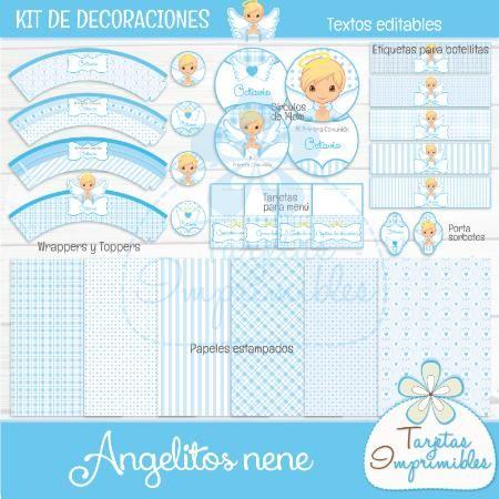 Kit de decoraciones para nene Angelitos