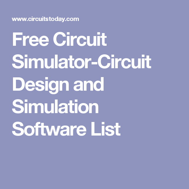 Free Circuit Simulator Circuit Design And Simulation Software List