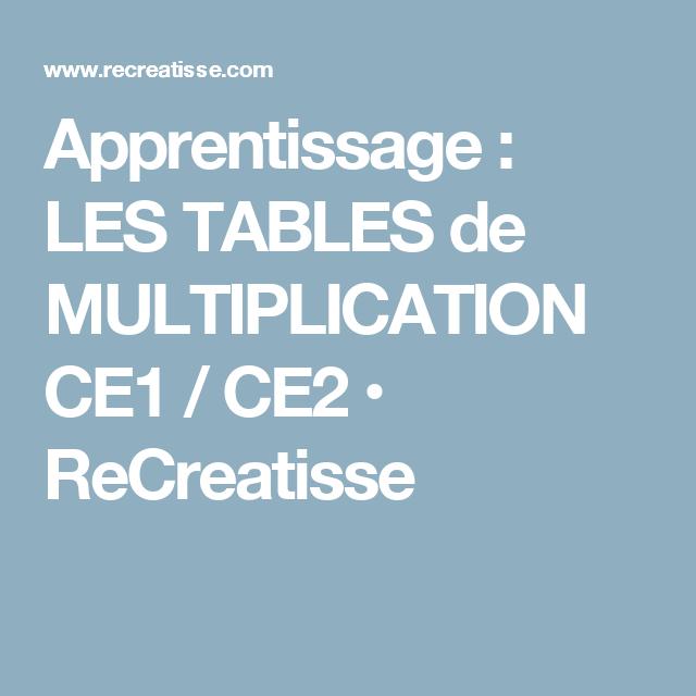 Apprentissage : LES TABLES de MULTIPLICATION CE1 / CE2 • ReCreatisse