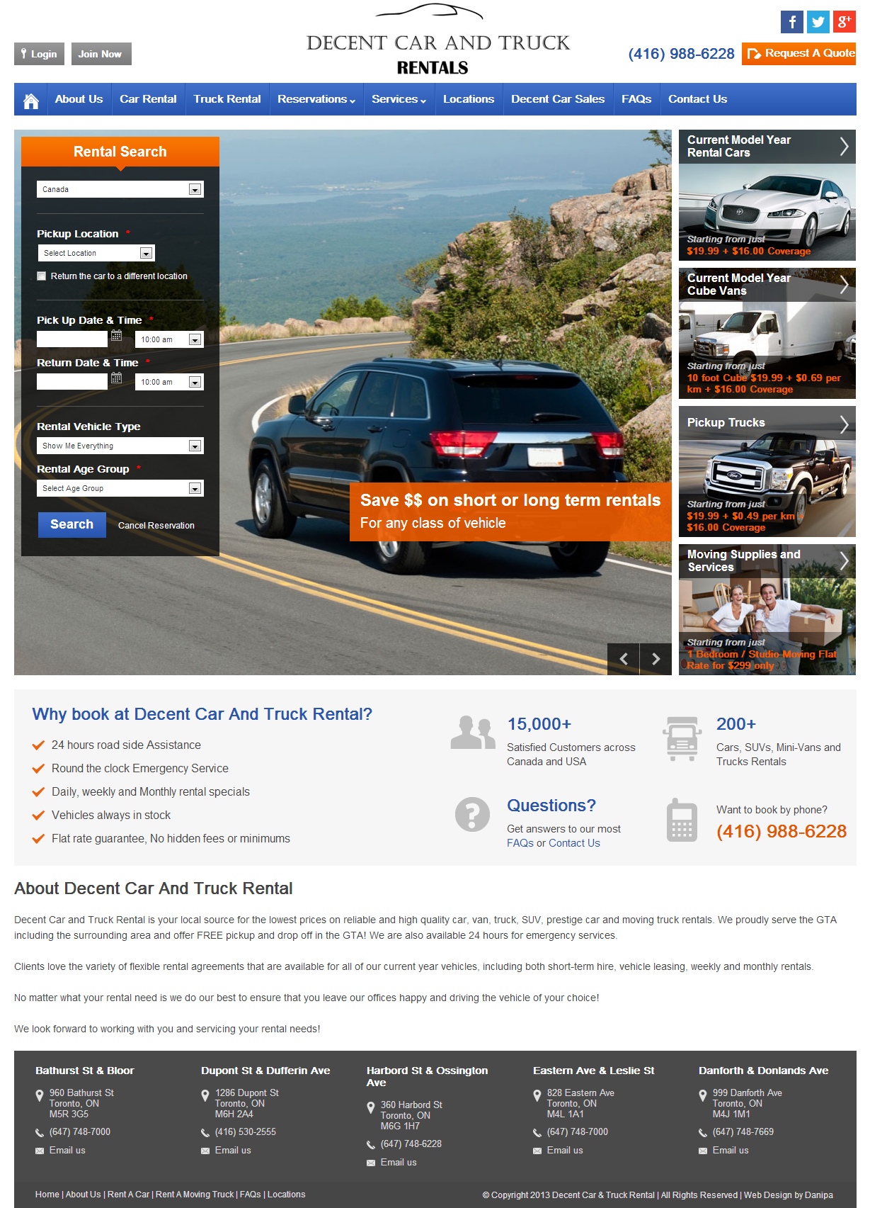 Home page design of the new website for decent car and truck rental visit for