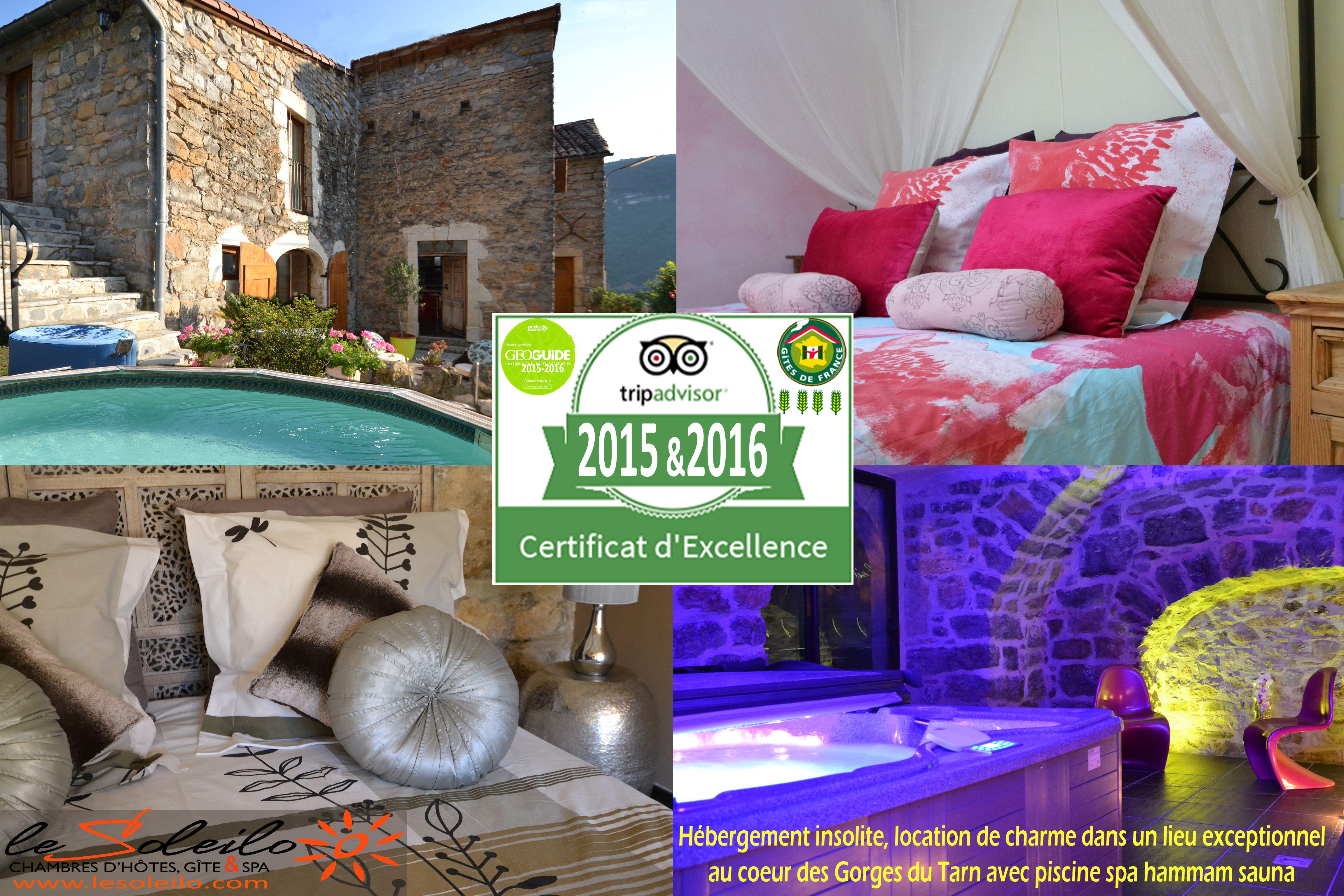 Certificat d excellence 2015 et 2016 le soleilo chambre - Chambre d hote couleur bois et spa ...