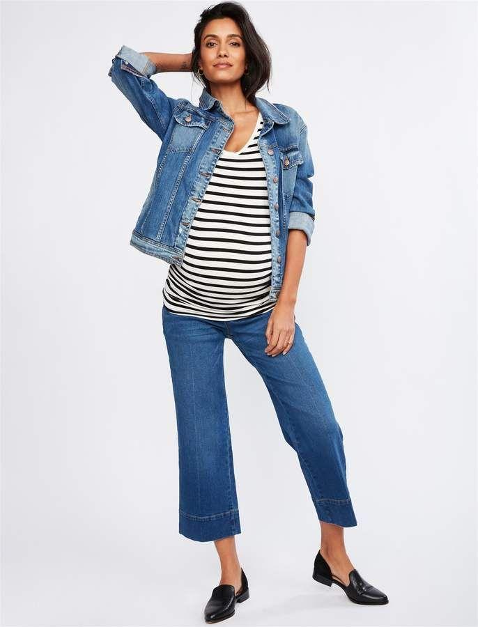 5a61cc55c060e Luxe Essentials Denim Secret Fit Belly Wide Leg Maternity Crop Pants ...