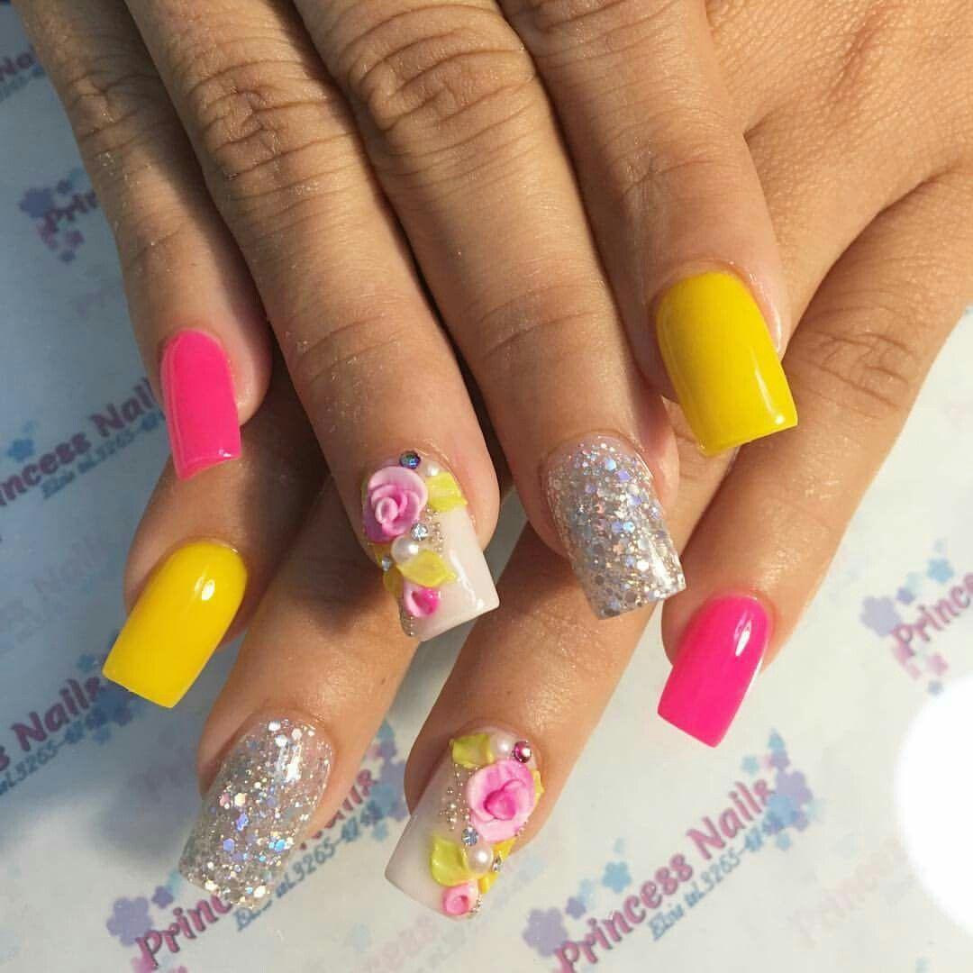 Unas Acrilicas Flores 3d Unas Manos En 2019 Pinterest Unas
