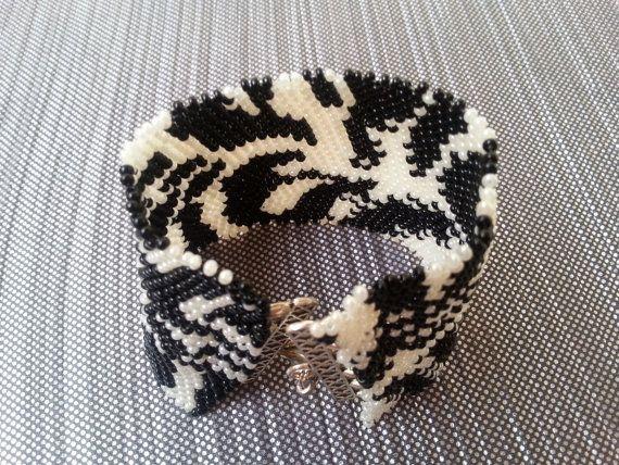 Zebra black and white bracelet braided bracelet by InnessaBoutique